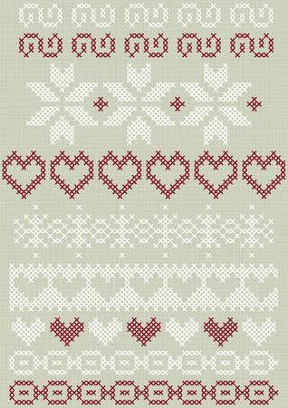 gestickt: Weihnachten Valentinstag Winterurlaub gen�ht bestickt wei� rot grau Grenze dekorative Elemente auf hellem Hintergrund