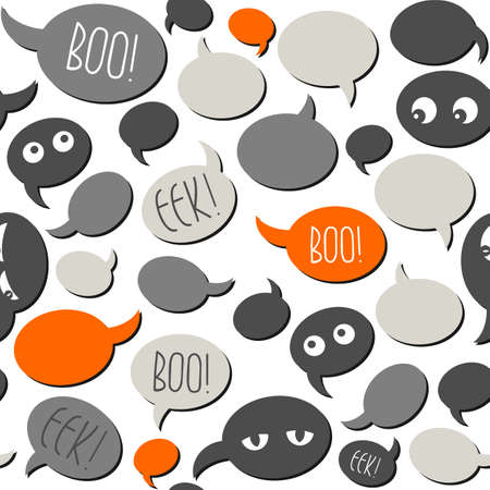 halloween related text and designs on gray orange talk bubbles on white background seamless pattern Stock Vector - 23039651