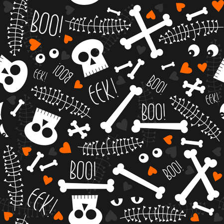 fond sombre: li�es Halloween cr�nes os yeux coeurs et les feuilles sur fond sombre, seamless