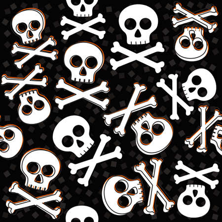 skulls and bones on messy confetti Halloween seamless pattern on dark background Stock Vector - 23039659