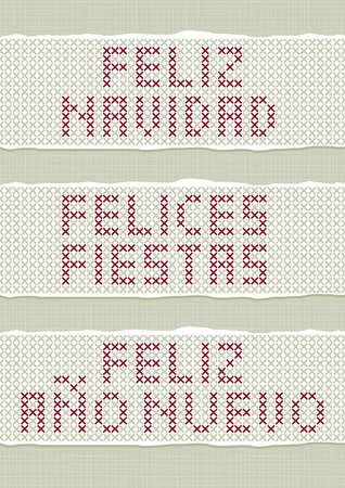 fiestas: Feliz Navidad Felices Fiestas Feliz Ano Nuevo spanish Christmas New Year wishes stitched embroidered red gray torn text set on light background