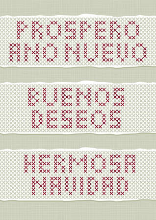 ano: Prospero Ano Nuevo Buenos Deseon Hermosa Navidad spanish Christmas New Year wishes stitched embroidered red gray torn text set on light background  Illustration