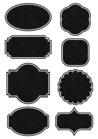 craquelure: autre mill�sime �tiquette r�tro craquel� noir de forme d�finie isol� sur fond blanc