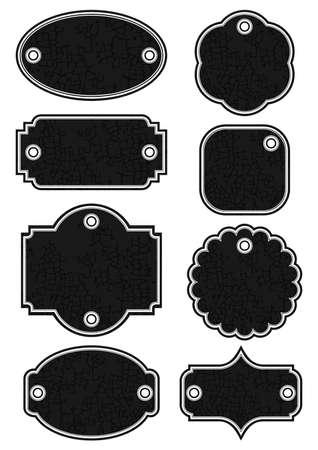 craquelure: diff�rente de cru de forme �tiquette craquel� r�tro noir serti de trous isol�s sur fond blanc