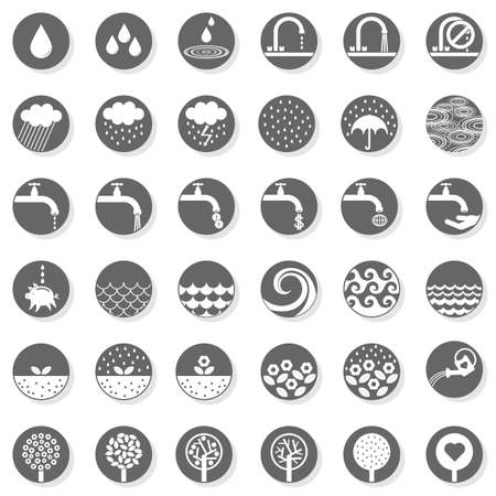 drop water rain wet garden nature plants save water related gray monochrome round button set  Vector