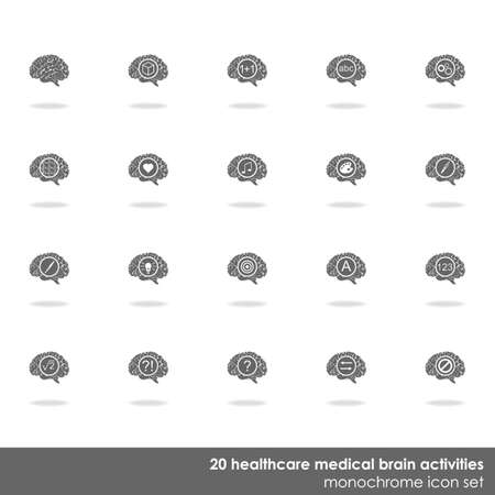 healthcare and medical: 20 healthcare medical brain activities icon set on white background with shadow