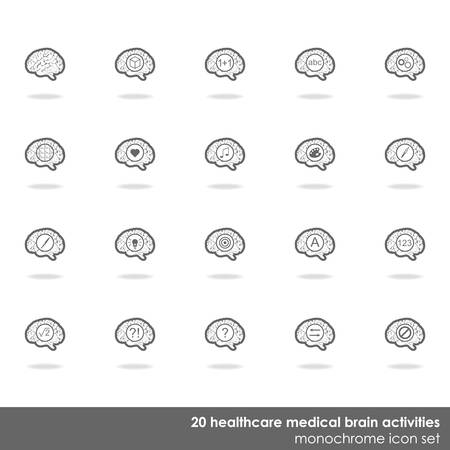 healthcare and medical: 20 healthcare medical brain activities icon set border line on white background with shadow