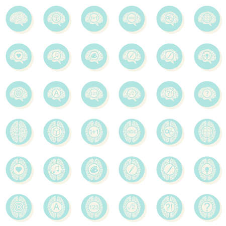 brain function: brain function activities healthcare medical turquoise gray round button set on white background