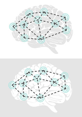 temporal: brain connections healthcare medical gray turquoise illustration on white background