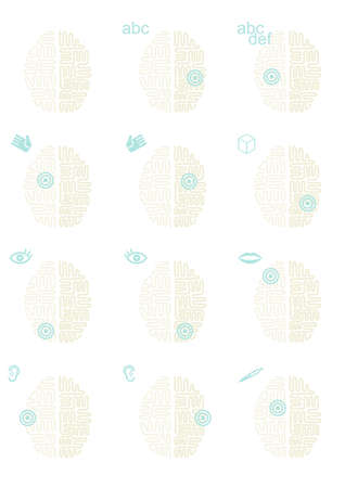 healthcare and medical: Brain functioning healthcare medical thinking gray turquoise icon type illustration set
