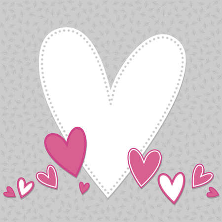beautiful colorful hearts in a row with big white one with blank place for your text on gray background with little leaves  Vector