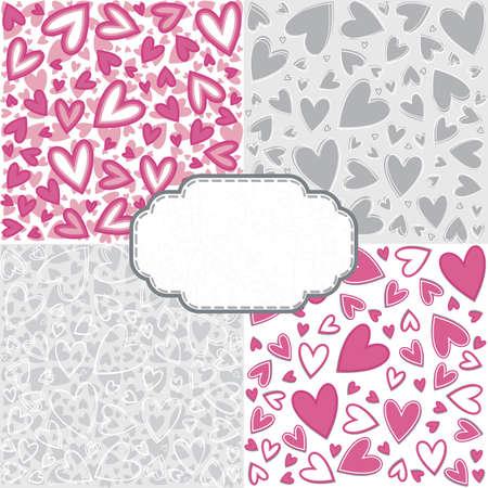 craquelure: gris rose romantique d�sordre coeur mod�le scrapbook ensemble de papier avec r�tro forme de cr�pitement cadre blanc avec de la place pour votre texte