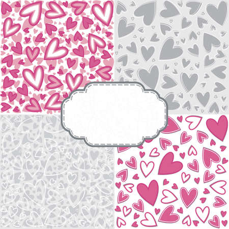 pink gray romantic messy heart pattern scrapbook paper set with retro shaped crackle blank frame with place for your text  Vector
