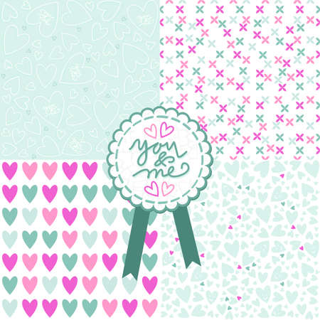blue pink white romantic messy heart pattern scrapbook paper set with retro shaped crackle you and me label with blue ribbon  Vector