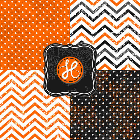 little polka dots and chevron black white orange holiday Halloween backgrounds set with vintage frames Vector