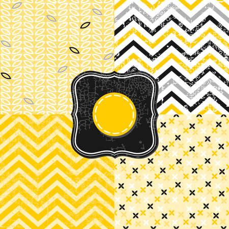 craquelure: petites fleurs feuilles graphiques et Chevron noir blanc jaune gris g�om�triques craquements milieux mis � des cadres d'�poque Illustration
