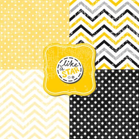 灰色背景: 小さな水玉星とシェブロン黒い白黄色灰色の幾何学的クラックル ビンテージ フレームと背景のセット
