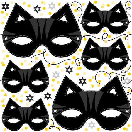 paper mask: cat mask animal party disguise with sparkling gold stars holiday seamless pattern on white background  Illustration
