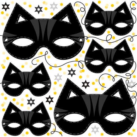 gato caricatura: máscara del gato animal de la fiesta disfrazado de oro las estrellas chispeantes vacaciones sin patrón en el fondo blanco