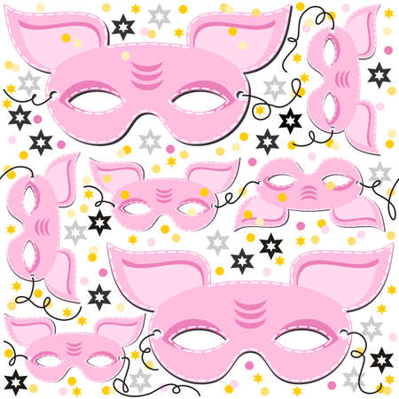 disguise: pink pig mask animal party disguise with sparkling gold stars holiday seamless pattern on white background