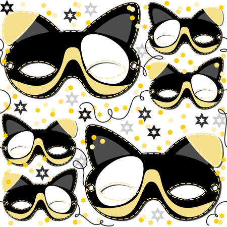 gray yellow white black pinto dog mask animal party disguise with sparkling gold stars holiday seamless pattern on white background Vector