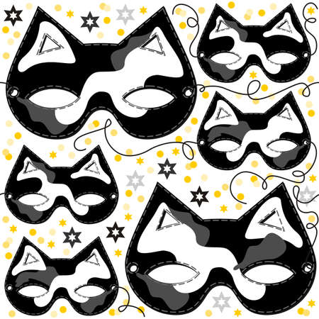 disguise: gray white black pinto cat mask animal party disguise with sparkling gold stars holiday seamless pattern on white background