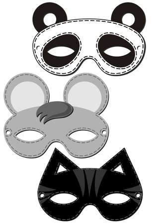 mouse cat panda bear mask animal party disguise set isolated on white background  Vector