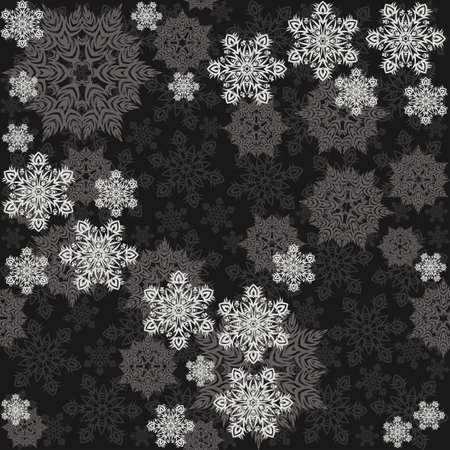 delicate messy snowflakes winter holidays seamless pattern different gray elements on dark background Vector
