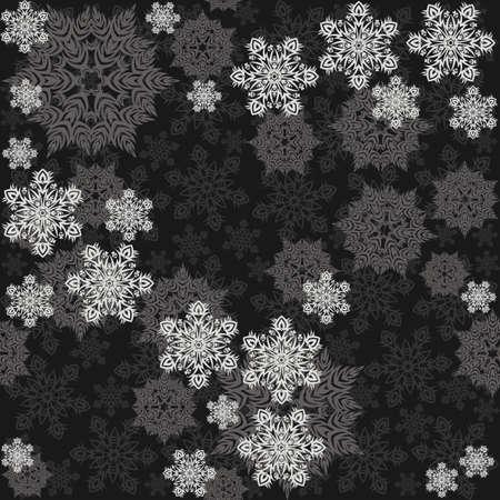 fond sombre: flocons de neige d�sordre vacances d'hiver d�licates seamless diff�rents �l�ments gris sur fond sombre