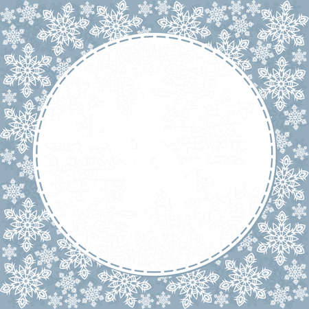delicate messy snowflakes winter holidays seamless pattern white elements on blue background with round white sewed frame with place for your text winter holiday card invitation background Vector