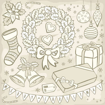 black and white typical traditional Christmas and winter holidays related elements vintage colors illustration set on light background Vector