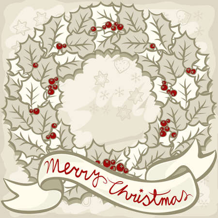 beautiful holly leaves wreath with wishes on light background monochrome Christmas New Year winter holidays decorative illustration card centerpiece  Vector