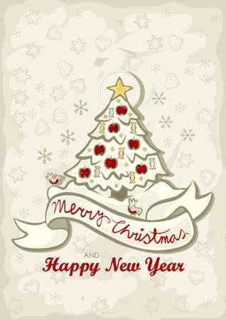 Hermoso árbol De Navidad Con Manzanas Rojas Y Dulces De Colores ...