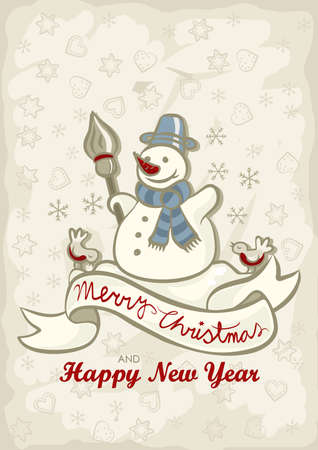 happy snowman with two little birds vintage colors winter holidays Christmas New Year card with wishes in English Vector
