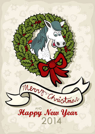 chinese holly: happy horse chinese zodiac sign in Christmas wreath green holly leaves and red berries with big red bow vintage colors winter holidays Christmas New Year card with wishes in English