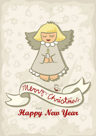 singing little angel with little bird vintage colors winter holidays Christmas New Year card with wishes in English  Vector