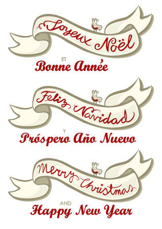 joyeux: Merry Christmas Feliz Navidad Joyeux Noel English French Spanish different languages christmas wishes isolated vintage colors banner set on white background Illustration