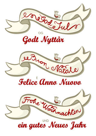 merry christmas german italian norwegian different languages christmas wishes with little bird isolated vintage colors banner