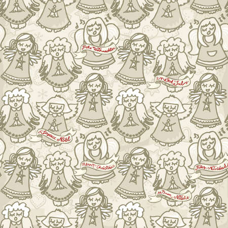 norwegian: singing little angels with christmas wishes in different languages vintage colors monochrome seamless pattern Illustration