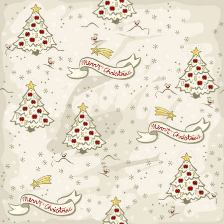colorful christmas tree and greetings banner in English delicate typical traditional Christmas and winter holidays related seamless pattern in vintage colors  Vector