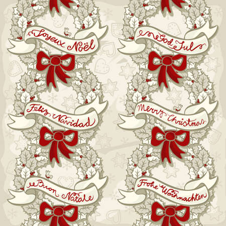 monochrome vintage colors holly leaves and berries wreath with red ribbon and banner with christmas wishes in different languages seamless pattern on light background with heart and star shapes  Vector