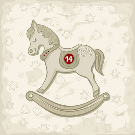 little beautiful rocking horse vintage toy chinese zodiac sign christmas time winter holidays children s birthday card poster centerpiece on light patterned  Vector