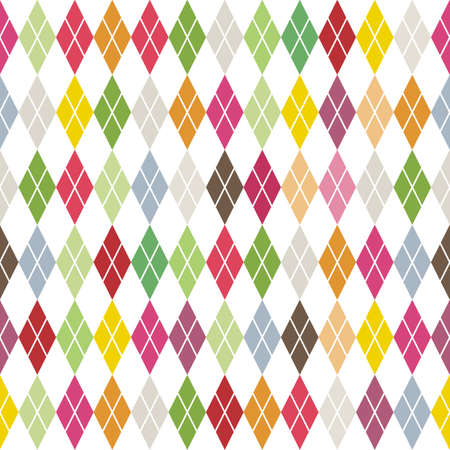traditional colorful argyle diamond pattern on white  Illustration