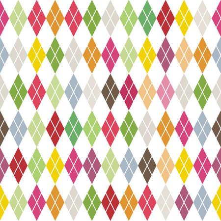 traditional colorful argyle diamond pattern on white  Illustration
