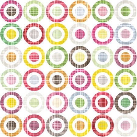 white scratched colorful dots and circles in rows geometric seamless pattern on white background Illustration