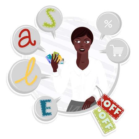 dark hair: atractiva joven mujer de cabello oscuro tipo africano en bandera de la venta redonda