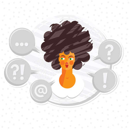 dark hair: what to do portrait of thinking young attractive dark hair caucasian type woman on round label on white dotted background  Illustration
