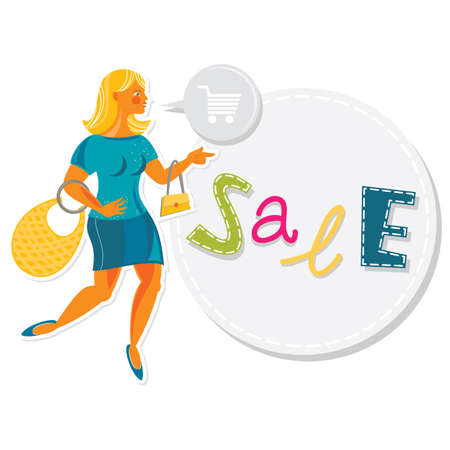 young attractive blond hair caucasian type woman spending money on shopping sales  Vector