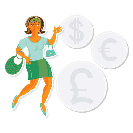 spending money: young attractive dark hair caucasian type woman spending money on shopping sales