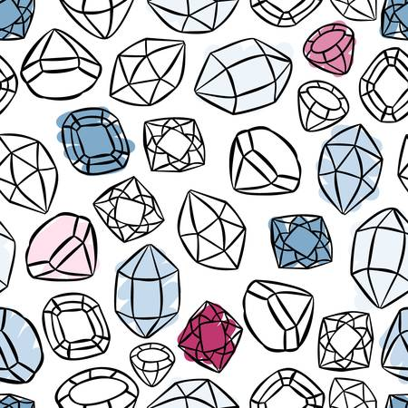 colorful beautiful shining crystals diamonds precious stones seamless pattern on white background  Vector
